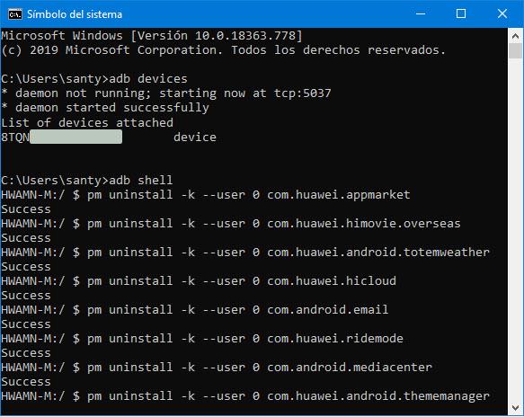 desactivar aplicaciones huawei adb