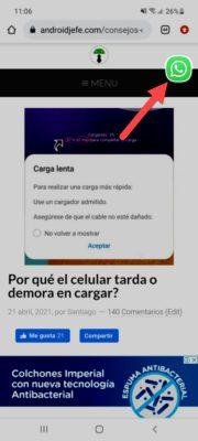 whatsapp vista emergente acceso directo