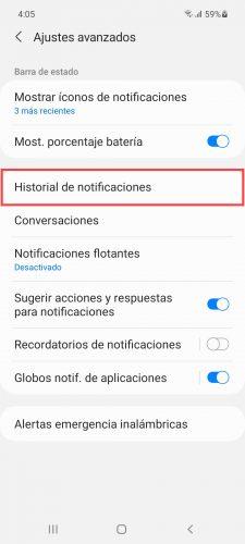 historial de notificaciones android samsung 3