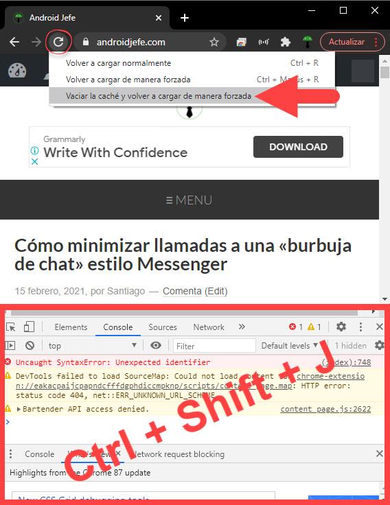 Cómo borrar la caché del navegador (EJ: Google Chrome)