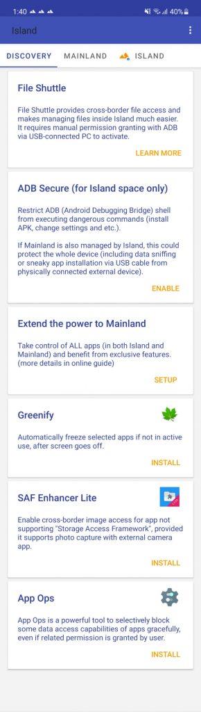 caracteristicas adicionales espacio de trabajo android island