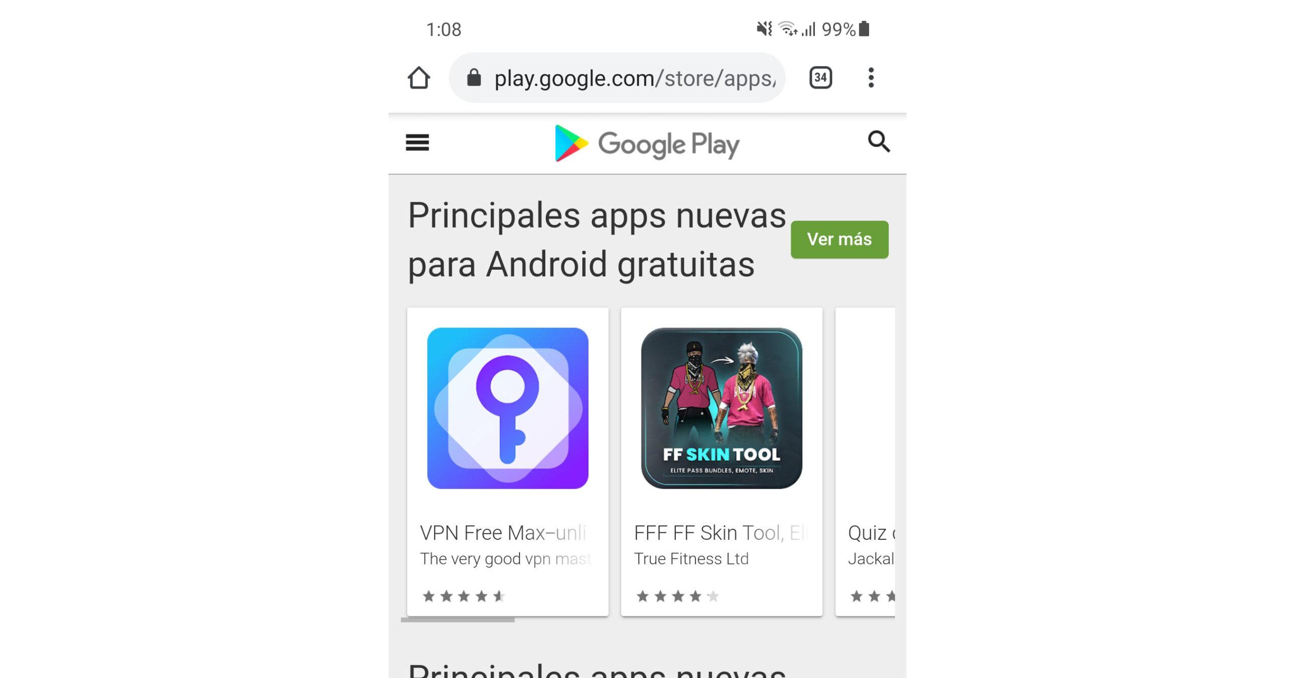 aplicaciones recientes play store android